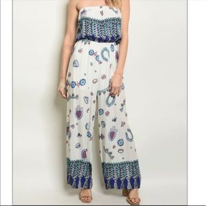 Pants - Ivory Royal Print Jumpsuit